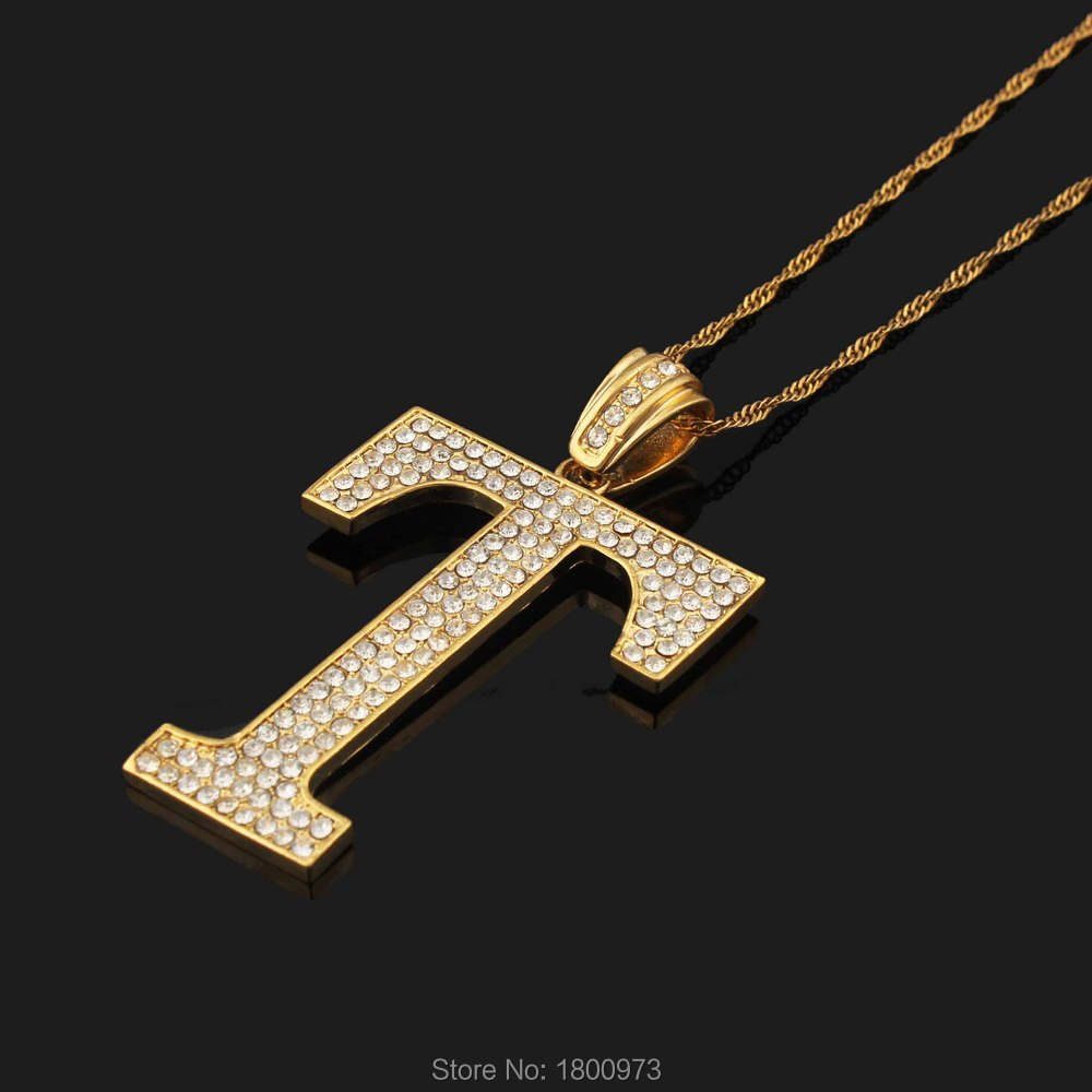 initial qp t letter gold diamond necklace pendant in