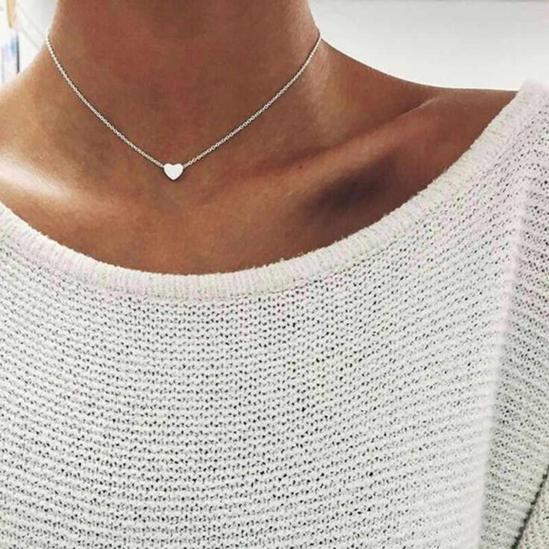 卸売ジュエリーシルバーゴールドカラージュエリー愛のハートネックレス & ペンダントダブルチェーンチョーカーネックレスの襟の宝石ビジュー