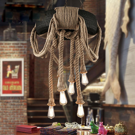 Vintage American Country Hemp Rope Tire Pendant Lights Hanging Lamp Rubber Wheel Suspension for Home Bar Living Room Lighting