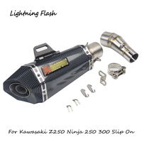 For Kawasaki Ninja 300 250 Z250 Motorcycle Exhaust Pipe Stainless Steel Mid Link Elbow 51 mm Tail Escape with DB Killer Muffler