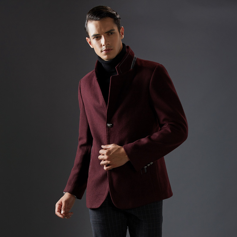 Thick Short Stand Collar Woolen Coat Winter Mens Classical Elegant Coat Winter Jacket Men