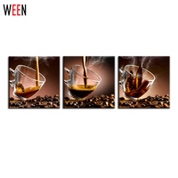 3 Panels Vintage Hot Coffee Cup Modern Home Wall Decor Oil Painting Print On Canvas For