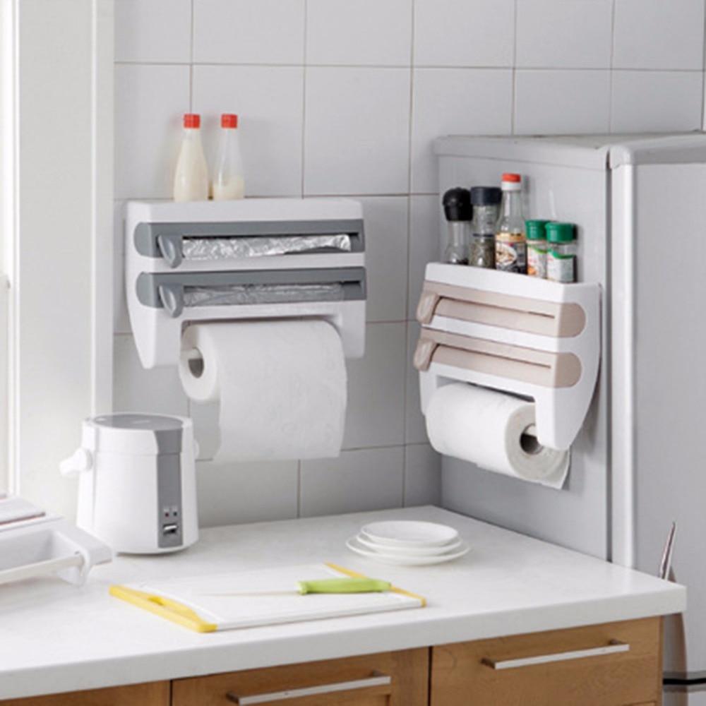 ABS Kitchen Foil Film Wrap Tissue Paper Kitchen Roll Holder Dispenser Rack Storage Shelf For Kitchen Bedroom Organization