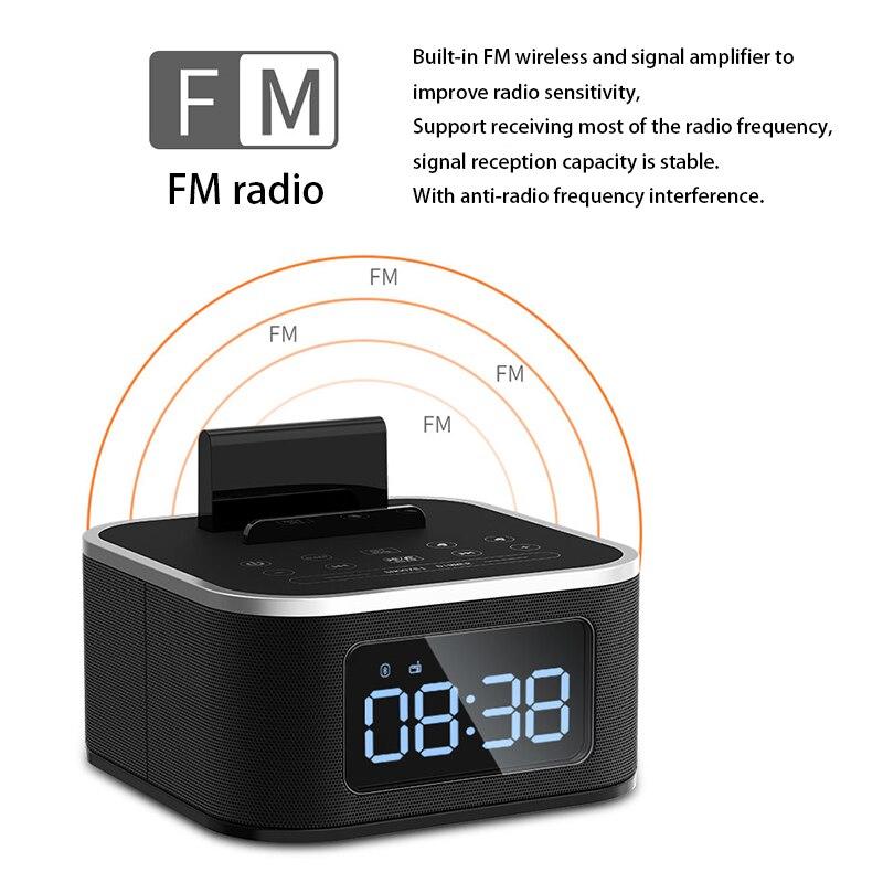 LED HD Digital Display Wireless Bluetooth FM Radio Speaker Table Alarm Clock Smart Mini Subwoofer Stereo