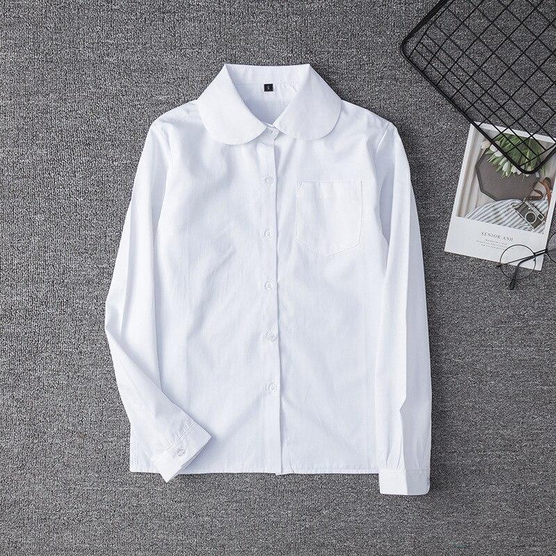 Hot Korean School Uniform Girls Round Neck Jk Long Sleeve Shirt For Women Japanese Orthodox School Uniform Cotton White Shirt