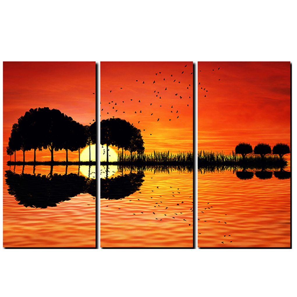 3 pcs 40 x 60cm canvas wall art hd printed guitar tree lake sunset painting room decor print. Black Bedroom Furniture Sets. Home Design Ideas