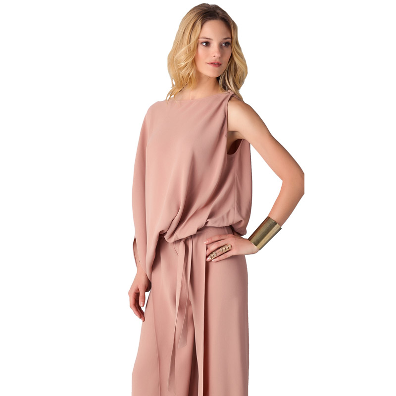 Women New Arrival 2018 High Quality Casual Party One Sleeve Big Size  Elegant Pink Loose Long Pants Formal Romper Jumpsuit 305373-in Jumpsuits  from Women s ... 464fadc7925c