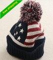 Chapéu Do inverno 2016 Mulheres Da Bandeira Americana DOS EUA Beanie inverno quente tampas de malha chapéus para homens Gorros Skullies gorros bonnet femme