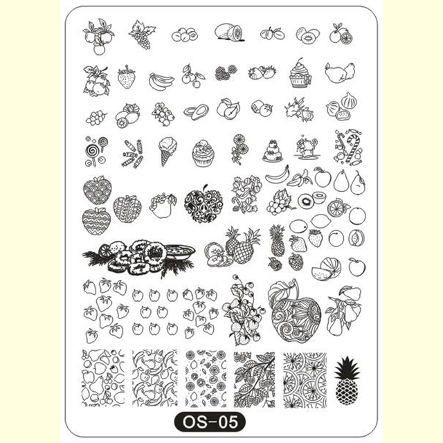 DIY Nail Art Template Stainless Stamping Templates Sweet Friut Theme ...
