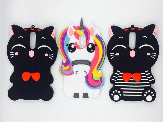 Para Nokia 6 3d Dibujos Animados Kawaii Bow Tie Gato Color Unicornio