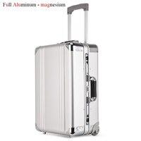 Новый Дизайн Алюминий Rolling Чемодан металла мешок путешествия чемодан тележка Чемодан чашку кабина случае Алюминий нести сумку