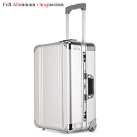 New Design Aluminum Rolling Luggage Bag Metal Travel Suitcase Trolley Luggage Boarding Cabin Case Aluminum Carry On Bag