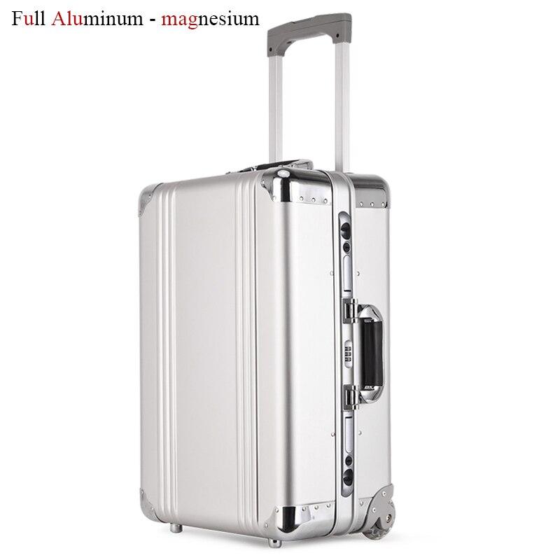 Nouveau sac à bagages en aluminium de conception sac de voyage en métal valise trolley bagages cabine d'embarquement en aluminium sac de transport