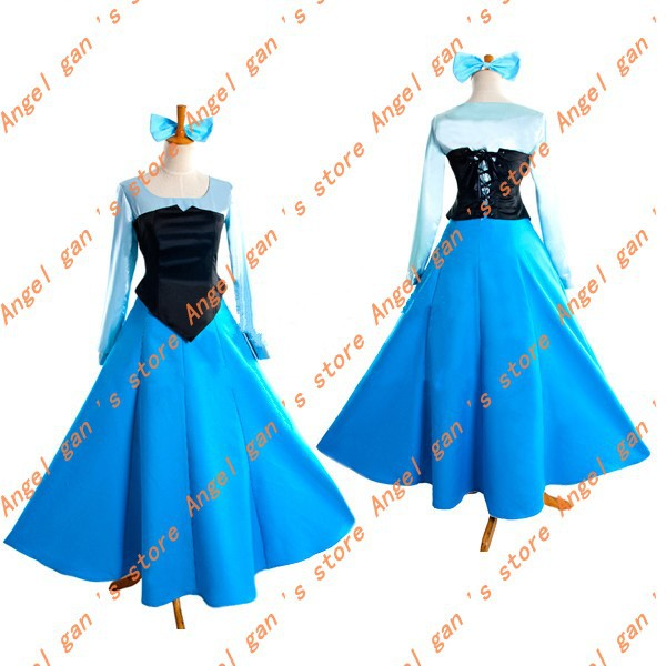 Free shipping!!!New Arrival Custom Made The Little Mermaid Princess Ariel Blue Dress Cosplay Costume For Halloween the little mermaid ariel princess dress cosplay adult ariel mermaid costume women mermaid princess ariel green dress cosplay