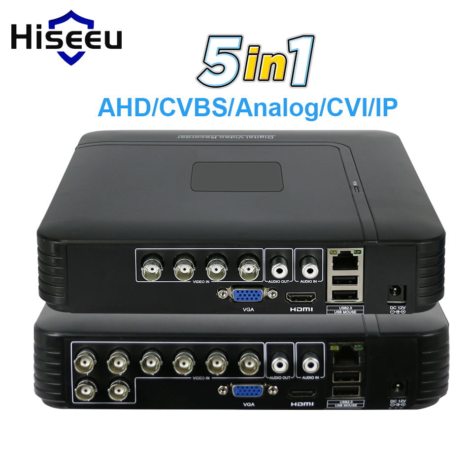 5 in 1 CCTV Mini DVR TVI CVI AHD CVBS Ip-kamera Digital Video Recorder 4CH 8CH AHD DVR NVR CCTV System P2P Sicherheit Hiseeu