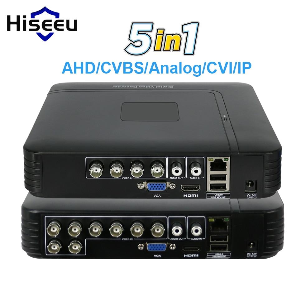 5 in 1 CCTV Mini DVR TVI CVI AHD CVBS Telecamera ip Digital Video Recorder 4CH 8CH AHD DVR NVR Sistema CCTV P2P Security Hiseeu