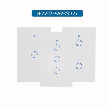 Bekerja dengan Alexa Sonoff Ewelink Aplikasi Standar US T1 Lampu Dinding Touch Switch, Remote Control, wifi Remote Control Melalui Ponsel Pintar