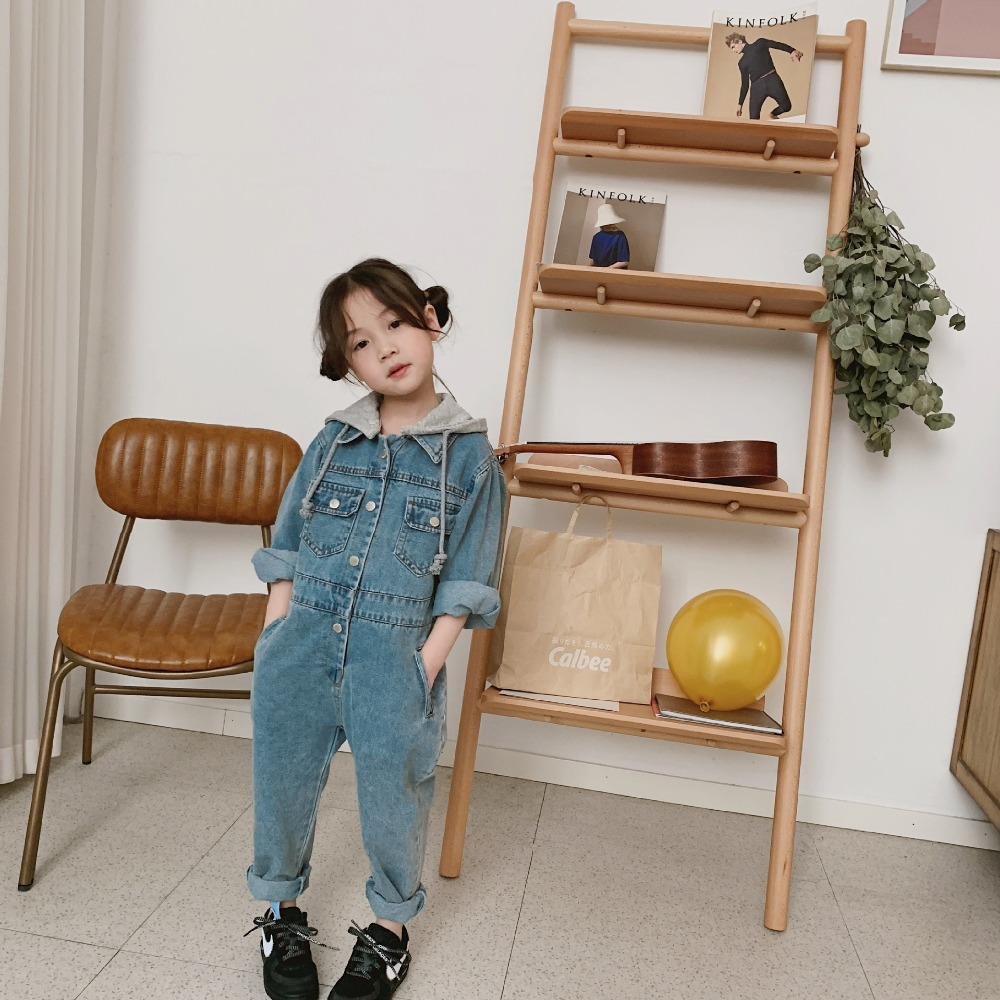 2019 New Stylish Girls Boys Denim Overall Hooded Full Sleeve Spring Fashion Girls Jean Pants 1-6 Years