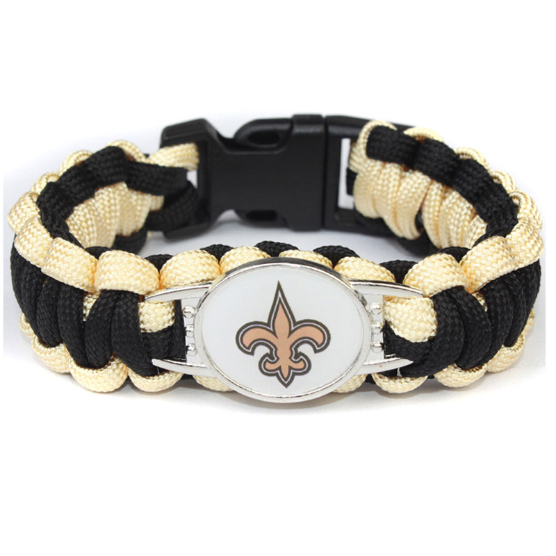 10pc/lot Football New Orleans Saints Charm Paracord Survival Outdoor Sports Bracelet Friendship Bracelets For Women Men Jewelry Fashionable(In) Style;