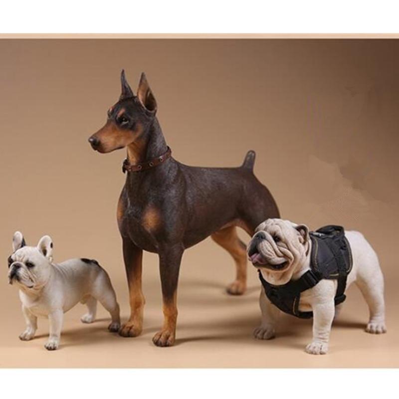 Doberman Pinscher Statue Simulation Animal Soldier Figurine Dog Sculptures Decor Just6F