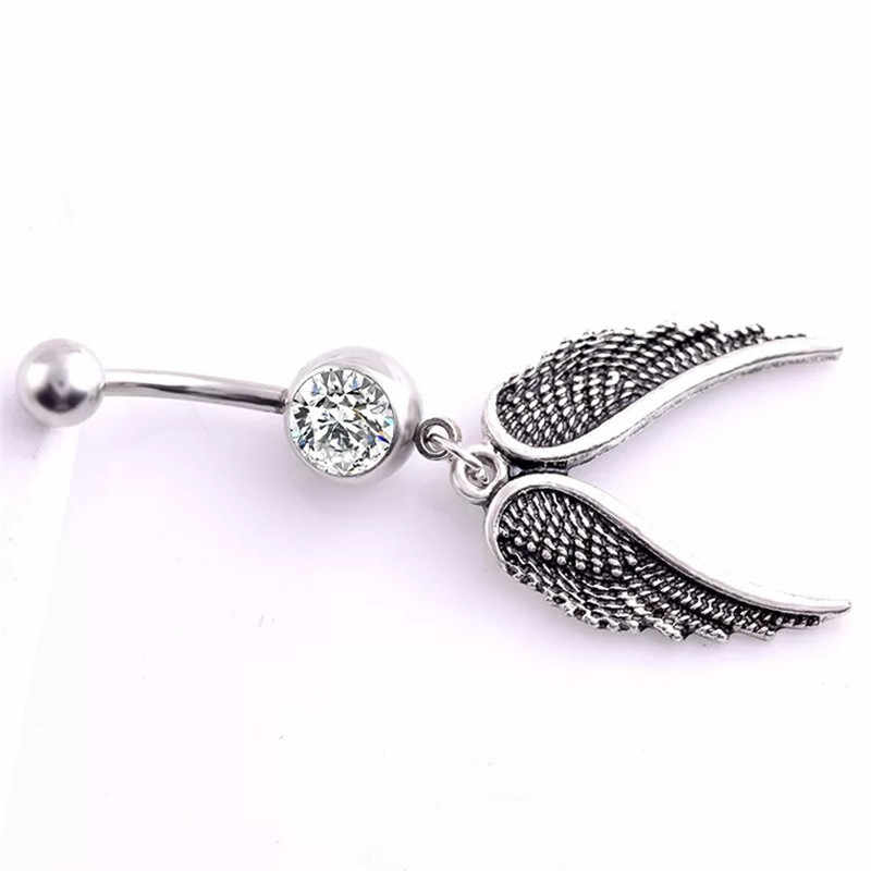 Surgical Steel Angel Wings Dangle Navel Rings Double Cz Crystal Navel Bars Silver Belly Button Ring Navel Piercing Body Jewelry