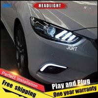 2PCS Car Style LED headlights for Mazda 6 2014 2015 for Mazda 6 head lamp LED Lens Double Beam H7 HID Xenon bi xenon lens