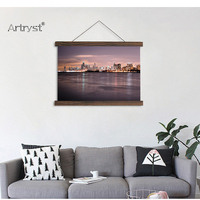 HD Print scroll paintings art chicago skyline landscape photography printed on canvas painting home decoration free shipping