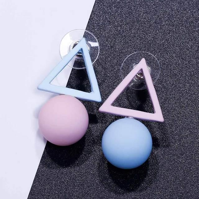 FAMSHIN Triangle Different Candy Color Earrings For Women 2017 Fashion Stud Earrings From Korean Earings Jewelry 5