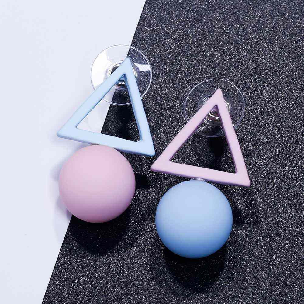 FAMSHIN ファッション三角形種類のキャンディーカラー模擬女性 2018 新トレンドのイヤリングの宝石パーティーギフト