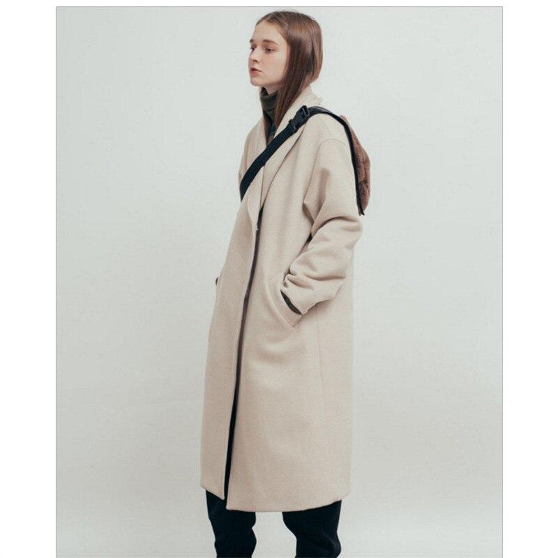 La De Plus Vintage Femme 2018 Manteaux Taille Haute Bureau Coréenne Dames D'hiver Long Qualité Mode Laine Manteau TPZT6q