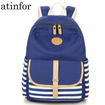 Fringe Notebook Backpacks Middle School Student Striped Buckle Backpack Women Bookbag Back to School Bag for Teenagers Girls
