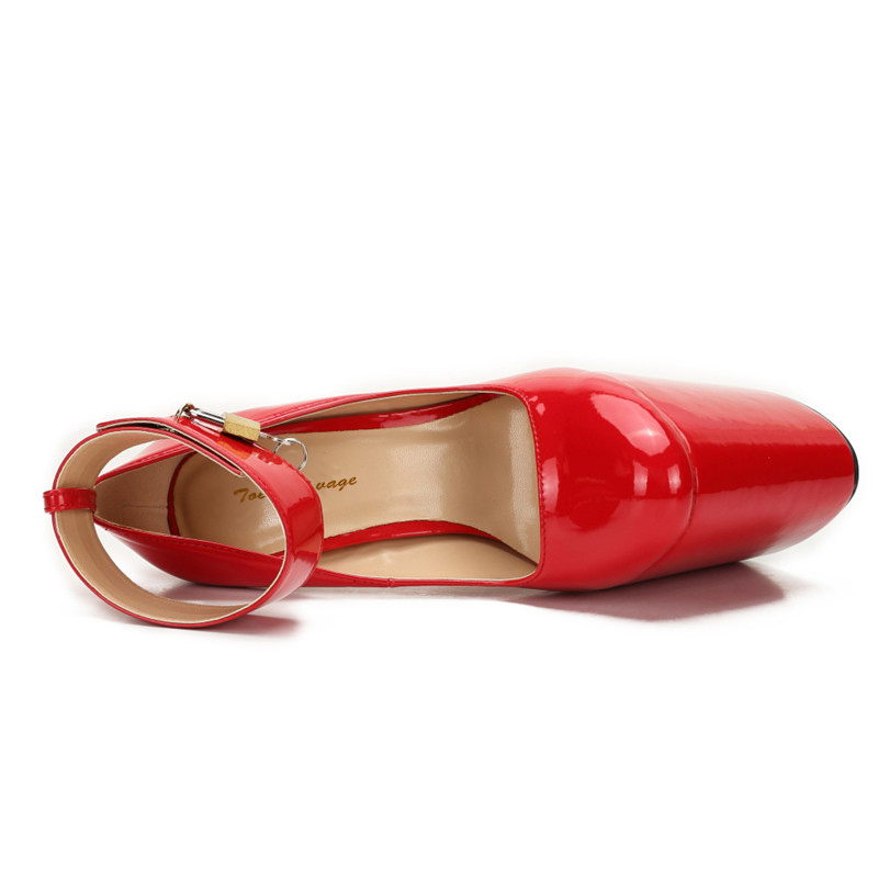 49 Sexy Delgados Cm 47 Zapatos Mujer De Plus Redonda 50 rojo 48 Tacones Metal Bombas Negro Crossdresser Stiletto Padlock 40 Punta Plataforma Mujeres 22 qwxpYUpS
