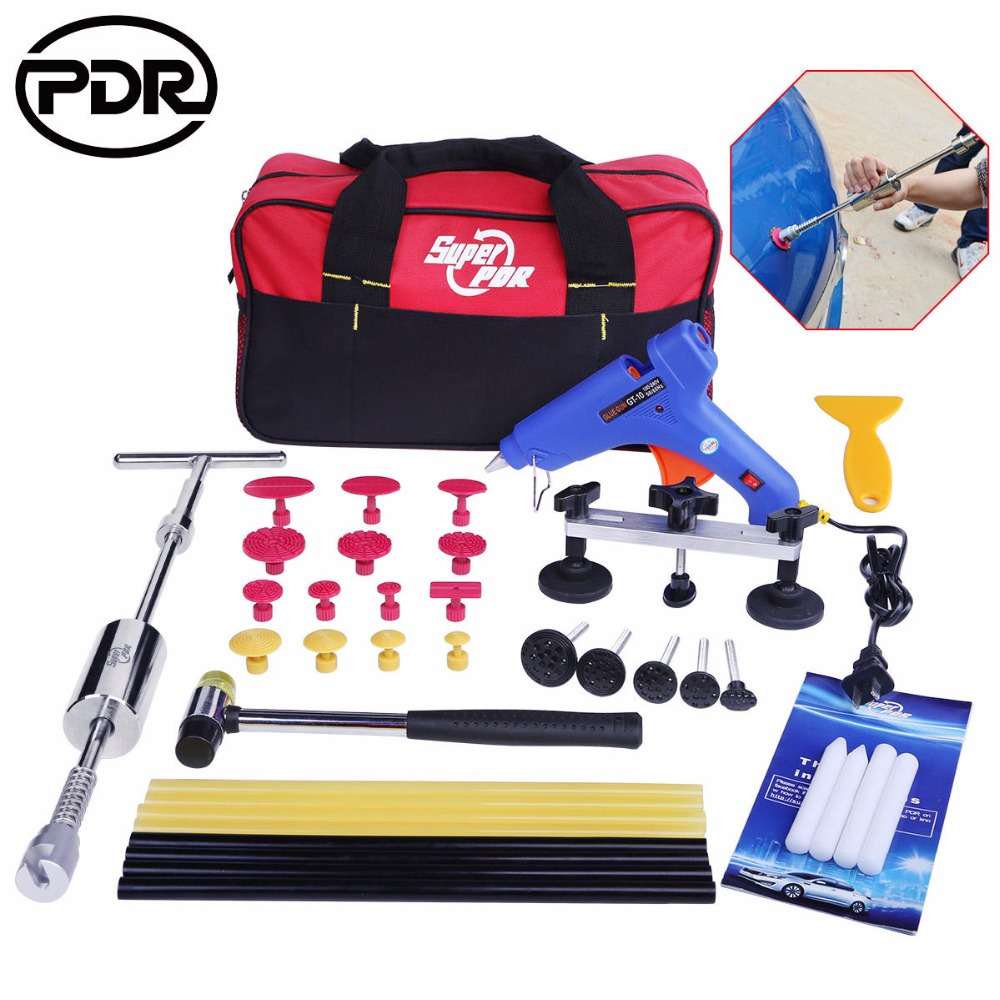 PDR Tools Kit Paintless Dent Repair Tools Car Hail Damage Repair Tool Dent Puller  Slide Hammer Suction Cups Hand Tool Sets pdr hail repair kit with 1 4kg pdr slide hammer hail glue puller pdr 206