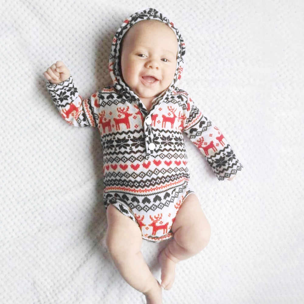 a8ea29929 ARLONEET Baby romper Boys Christmas Hoodie long sleeve soft cotton Print  Romper Bodysuitt Geometric Clothes L1001