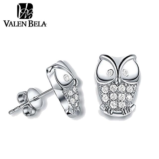 VALEN BELA Owl Silver Stud Earrings