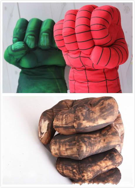 Nueva Llegada Hotsale Incredible Boxeo Manos Hulk Spider Man Plush Guantes Escénicas Atrezzo Juguetes Marioneta 3 estilos que usted puede elegir