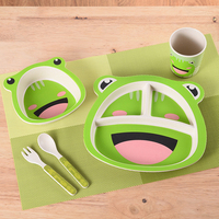 Cartoon Bamboo Baby Dishes Set Fractional Household Rice Bowl Baby Feeding Bamboo Tableware A Plate Of Children Fork Spoon 5 Set