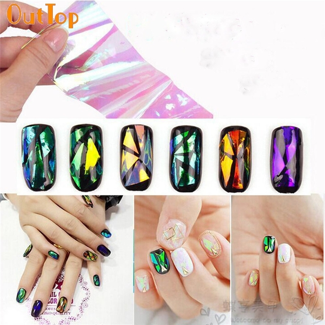 OutTop Love Beauty Female 6PCS DIY Nail Art Wrap Foils Nails Wraps ...
