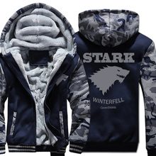 wool liner warm tracksuit men Camouflage color 2019 Game of thrones hoodies coats thick sweatshirt jacket zipper brand clothing недорого