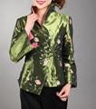 Зеленый Традиционный Китайский стиль женская Шелковый Атлас Вышивка Пальто Куртки Mujere Chaqueta Цветы Размер Sml XL XXL XXXL Mny05-A