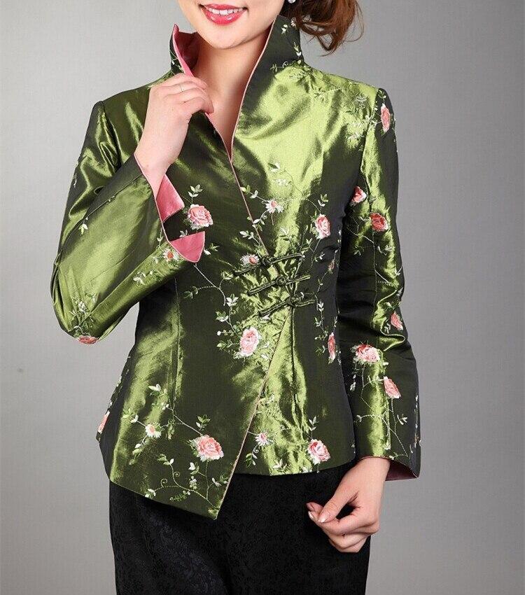 Verde Tradicional estilo Chino de Satén De Seda Bordado Chaqueta de la Capa de L