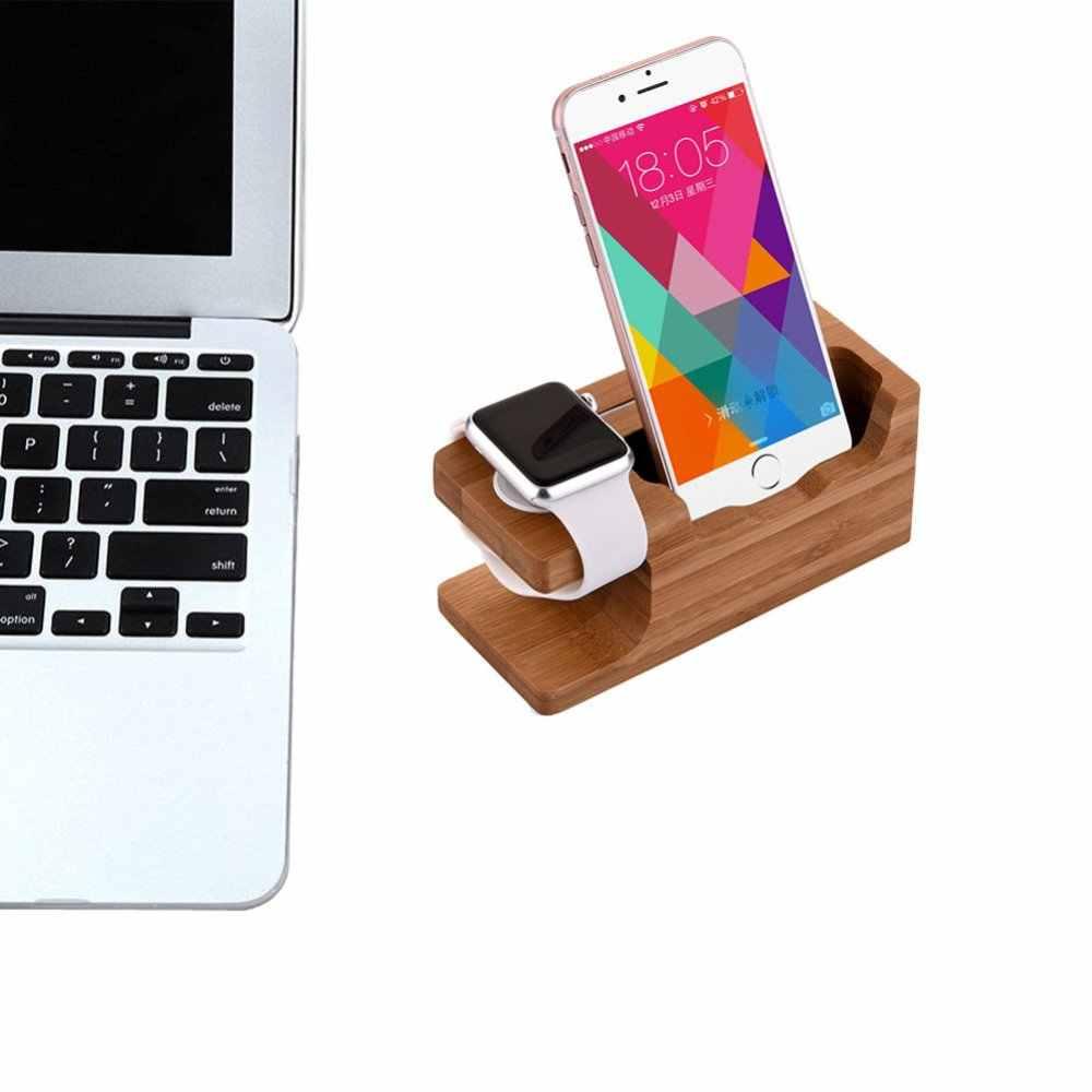 Novedad 100% Natual reloj soporte de madera de bambú cargador de carga soporte de acoplamiento para iPhone para iWatch Freeshipping