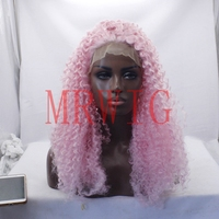 MRWIG afro kinky curly wig free part 24inch 180% cosplay medium cap size combs&straps pink wig cosplay for african americans