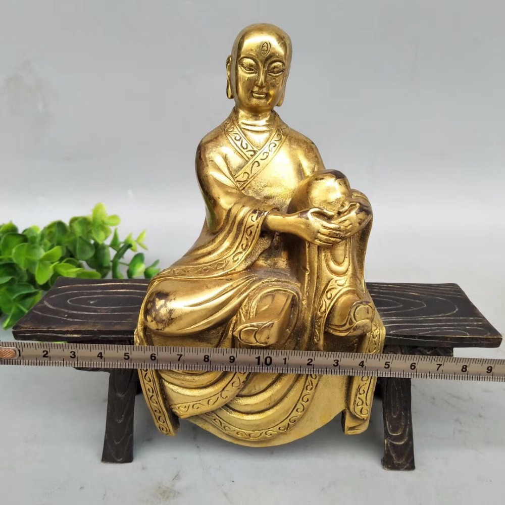 8 The latest style of gilded Buddha statue, bench, Buddhist monk sculpture, Buddhist sculpture and decoration statue