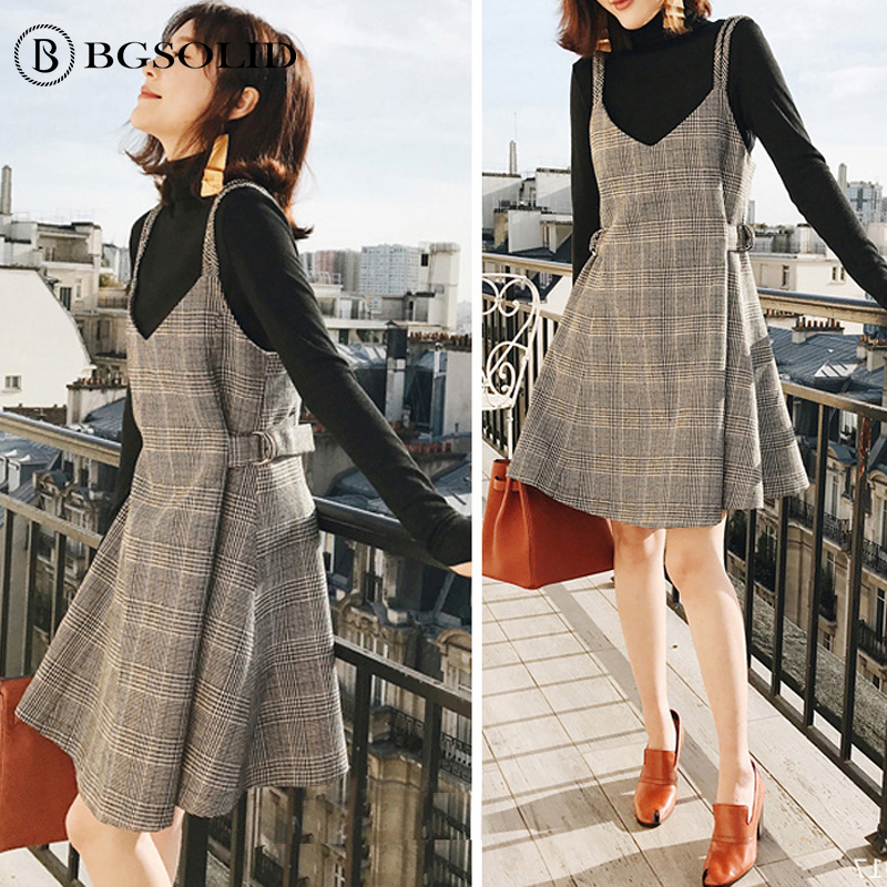 Autumn and winter woolen nizi plaid suspenders skirt dress women's thickened bottoming skirt two-pieces set