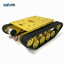 TS100 Metal Rc Robot Tank Car Chassis Shock Absorption Car With Suspension System Crawler Caterpillar for Arduino DIY Toy(Hong Kong,China)