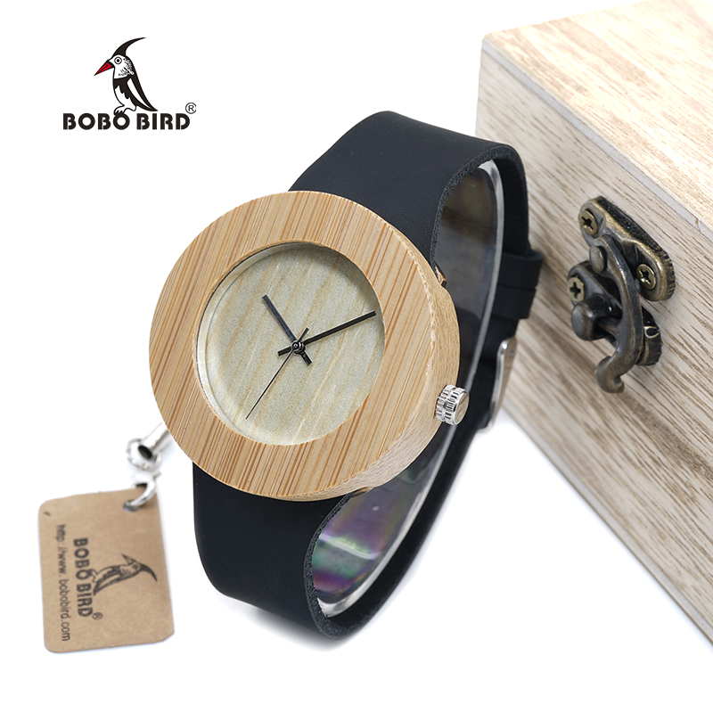BOBO BIRD WC08C09 Wood Watch 2017 Vintage Round Design Wooden Wristwatch Real Cowhide Leather Band Watches