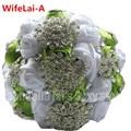 Прочный Роскошный Зеленый Белый Шелк Свадебный Букет Павлин Алмазы Кристалл Цветок Брошь Свадебные Букеты Подгонянный Цвет