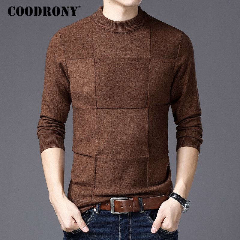 COODRONY Men Pullover Jersey Christmas-Sweater Cashmere-Turtleneck Winter Homme H007