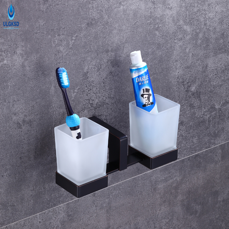 Ulgksd Double Toothbrush Cup Holder Bathroom Hardware Wall Mounted Toothbrush Tumber Wholesale and Retail Bathroom Accessories allen roth brinkley handsome oil rubbed bronze metal toothbrush holder